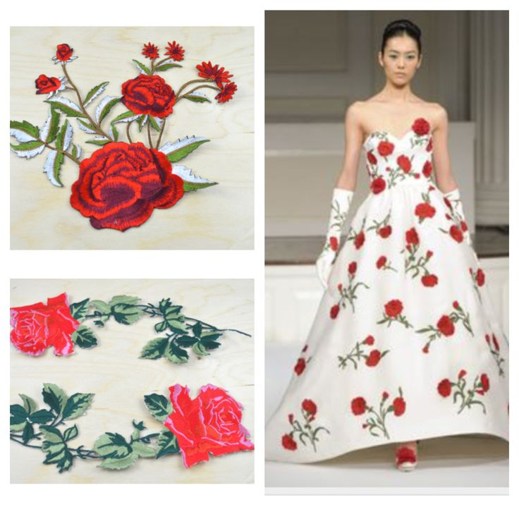 1 PIECE Realistic Red Embroidery Rose Appliques Motif of Rose in Bush with  Iron on Backing