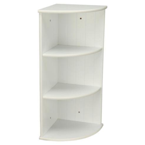 Southwold Bathroom Corner Shelf Storage Unit White Tongue