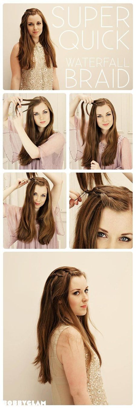 Super simple and cute waterfall tutorial & perfect if you want to get your bangs away from your face:-) http://www.bobbyglam.com/blog/2012/08/waterfall-braid-hair-tutorial/