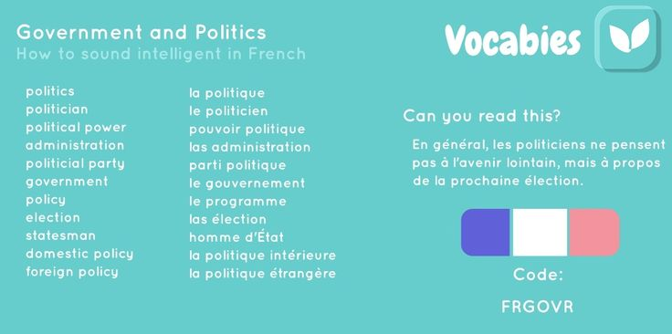 'How to sound intelligent in French' by Vocabies app  Government and Politics  Use the code to download the words in Vocabies app and learn them there!