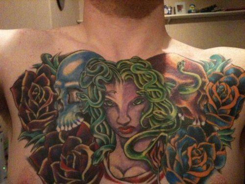 Medusa chest piece Tattoo - http://16tattoo.com/medusa-chest-piece-tattoo-2/