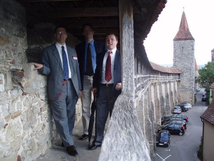 Gentlemen atop the city walls in Southern Germany.