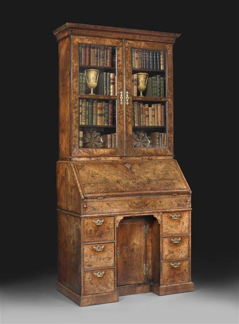 queen anne bureau bookcase furniture antiques. Black Bedroom Furniture Sets. Home Design Ideas