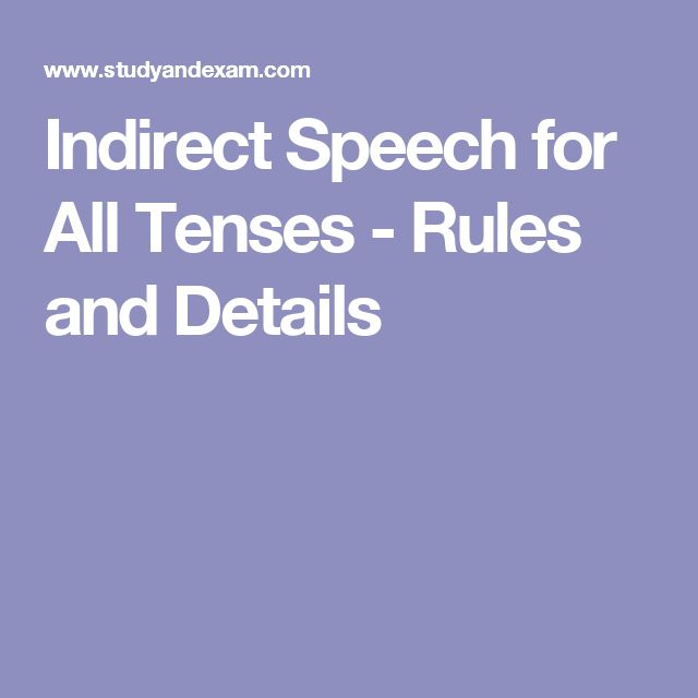 Indirect Speech for All Tenses - Rules and Details