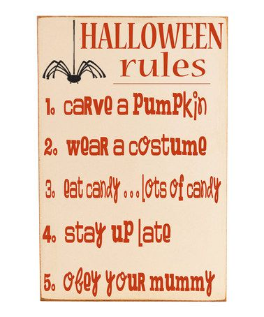 Cream & Orange 'Halloween Rules' Wall Sign #zulily #zulilyfinds