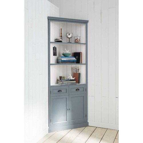 Meuble d 39 angle en bois blanc l 84 cm home sweet home for Meuble sweet home