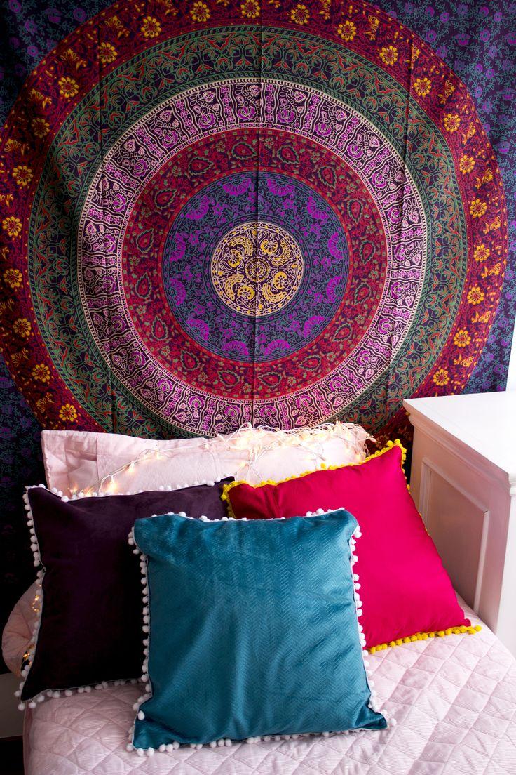 Manta Indiana Mandala Boho ☽ ✩ Decoração Gipsy , Decoração Boho , Colcha Indiana, Indian Tapestry, Indian Decor, Boho Deco
