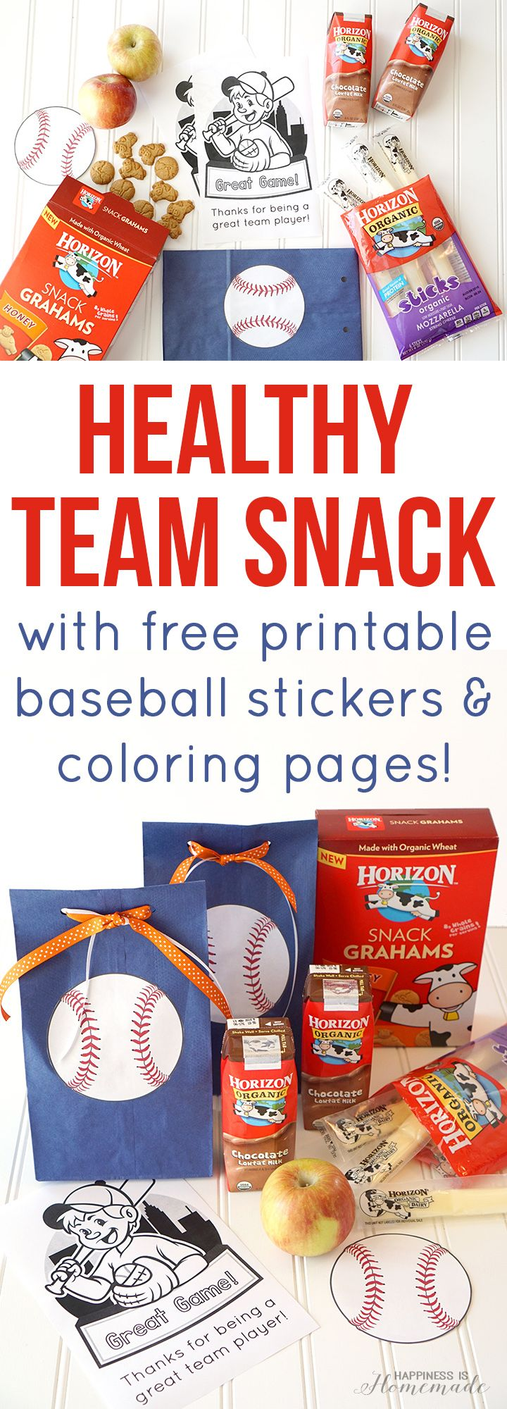 Hey baseball moms, check out this adorable quick & easy baseball team snack idea. Free printable coloring page and stickers! - Happiness is Homemade #HorizonOrganic #ad #CuriousKids