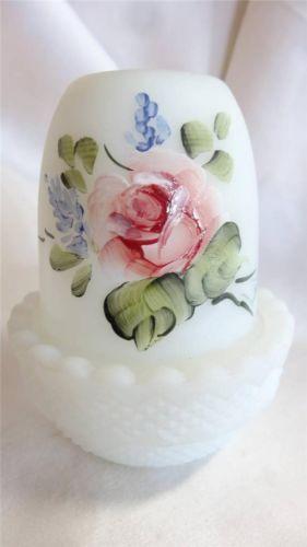 Mosser Glass Hand Painted Roses Fairy Lamp Light
