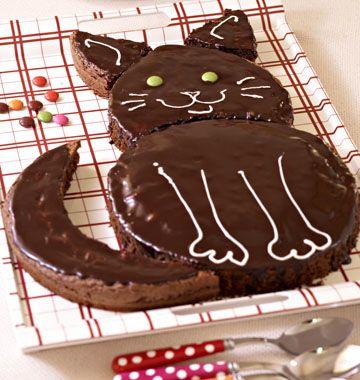 Gâteau d'anniversaire chat, au chocolat - les meilleures recettes de cuisine d'Ôdélices