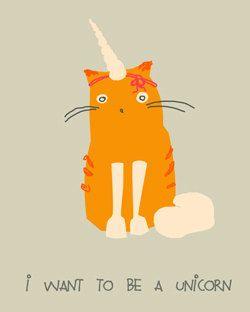 I wanna be a Unicorn Funny Card 35x45 inch by EinBierBitte on Etsy, $5.00