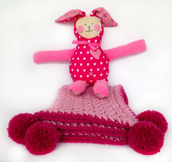 Lilly the pink plushie with a matching pink crochet by LilMeegs