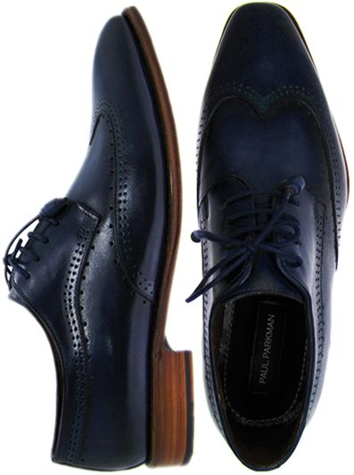 Paul Parkman Men's Wingtip Derby Shoes Navy Hand-Painted Leather Upper with Leather Sole