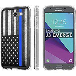 Galaxy J3 Emerge [2017 ] [SlickCandy] [Clear] Slim Fit Gummy TPU Phone Case - [Police Blue Line Flag] for Samsung Galaxy J3 Emerge [2017 ]