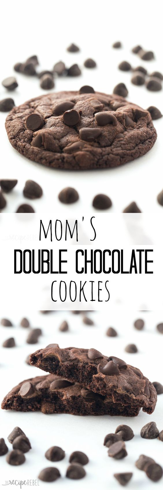 The perfect double chocolate cookies — rich, chocolately, chewy and never fluffy! Plus no chilling!