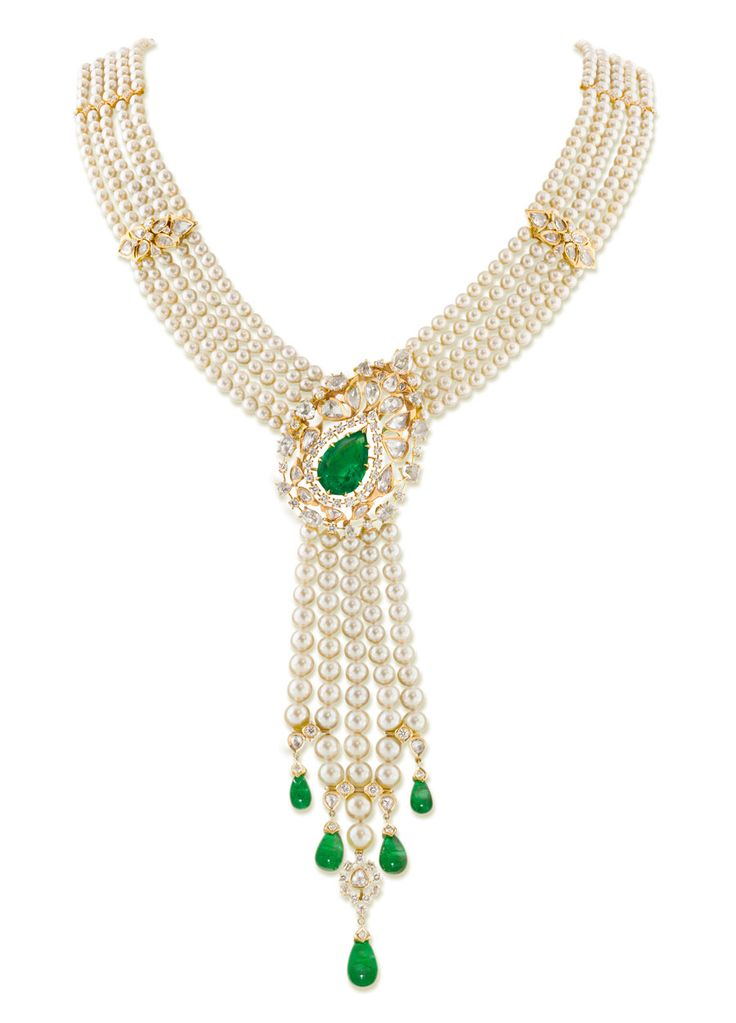 Necklace from Ganjam's Nizam Collection with emeralds, pearls and diamonds set in yellow gold.