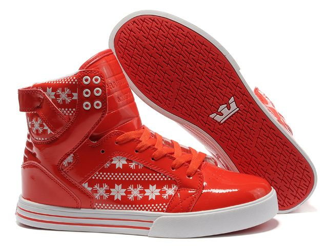 Shop Supra Skytop Red White Snowflake Men's Shoes Discount black, grey, blue  and more.