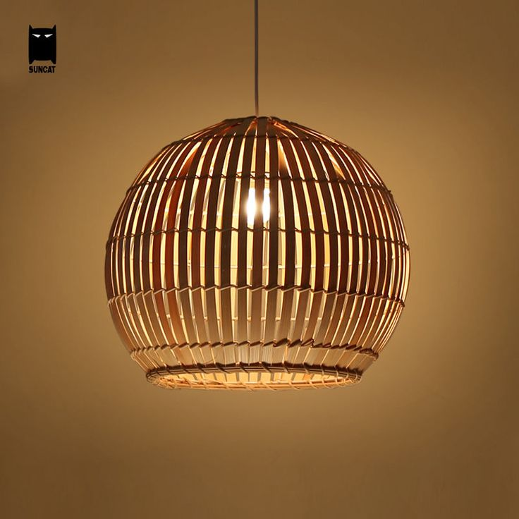 Bamboo Wicker Rattan Basket Shade Pendant Light Rustic ...