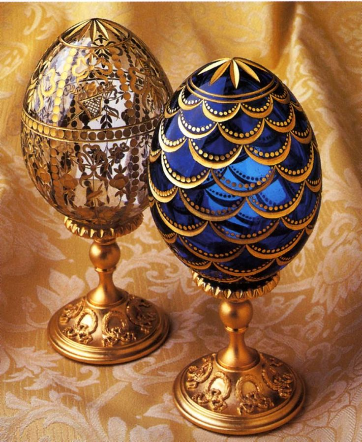 Easter eggs of the Romanov family. They were 50 ornate eggs created between 1885 and 1916 by Fabergé. With the death of family members, it is thought that the eggs are now in private collections.