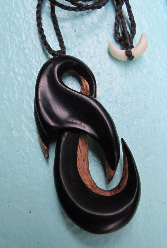 Whale Tail Neclace - Hawaiian Carving with Mango Wood and Ebony Wood on Etsy, $125.00: