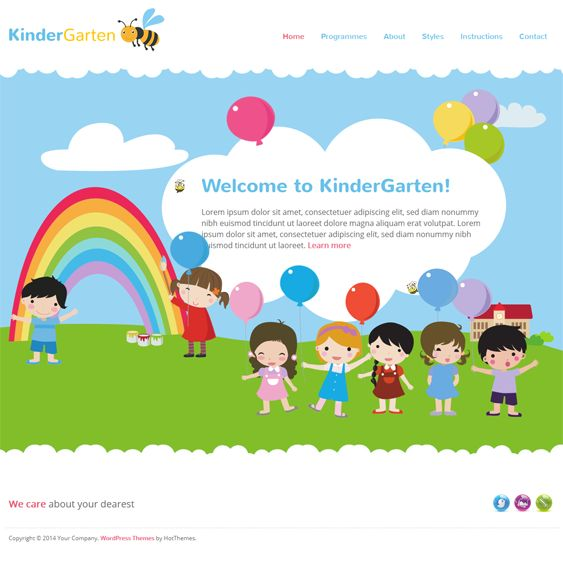 This WordPress theme for children features RTL language support, a responsive layout, 3 preset color schemes, 11 collapsible widget positions, SEO-friendly code, easy color customization for unlimited color schemes, multiple premium plugins, and more.