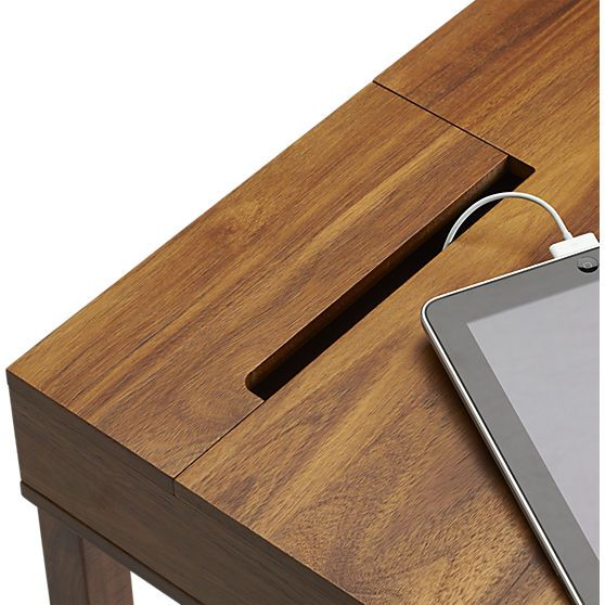 Myrene's desk grommet option - leather trim storage desk in office furniture | CB2
