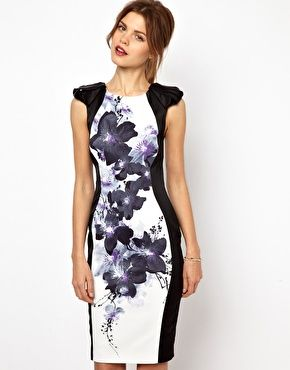 Image 1 of Karen Millen Bodycon Dress with Floral Placement Print
