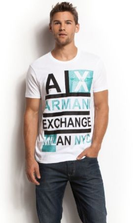Armani Exchange Mens Logo Stacked T-shirt