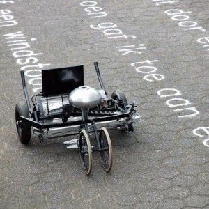"Gijs van Bon's Skryf machine ""writes poems on the ground with sand"""