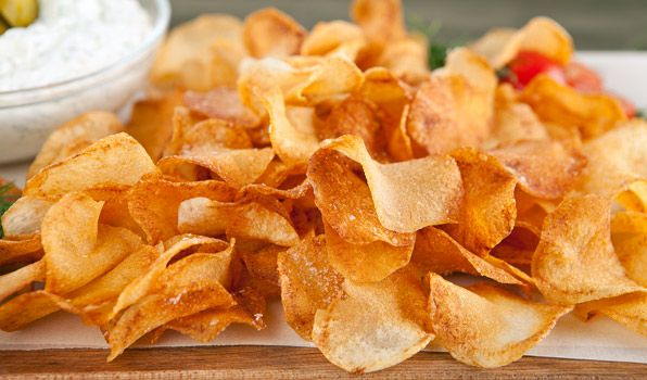 Crispy Chips with Dill Pickle Dip