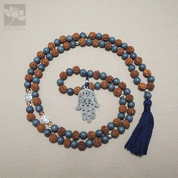 108 Rudraksha & Jade beads Hamsa Hand Charm Tassel by PadmaZenArt