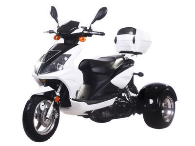 TRI008 50cc Trike Automatic Transmission, Air Cooled, Differential Gears, Front/Rear Disc Brakes, Aluminum Rims, Trunk, Tow Hitch included, Metallic Paint, U.S.Patented $1699.00