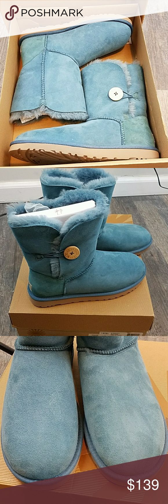 UGG Bailey Button Boots 5803 w/BOX Brand New In box Ugg bailey button boots. Looks like a medium blue color UGG Shoes Winter  Rain Boots