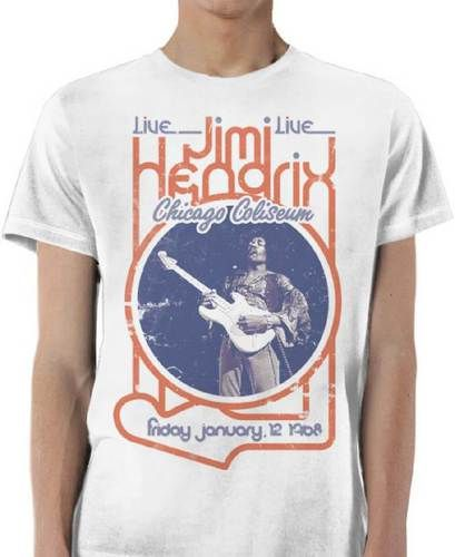 Jimi Hendrix Vintage Concert T-shirt - Jimi Hendrix Live at the Chicago Coliseum, Friday January 12, 1968 Concert | Men's White Shirt