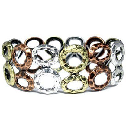 "Heirloom Finds Mixed Metal Hammered Disk Stretch Bracelet Silver, Rose and Yellow Gold Tone Heirloom Finds. $12.99. Arrives gift boxed!; Measures 1"" wide; Makes a great gift!; Bracelet is 7"" but will stretch to fit most; Trendy Hammered Oxidized Silver, Rose and Yellow Gold Tone"