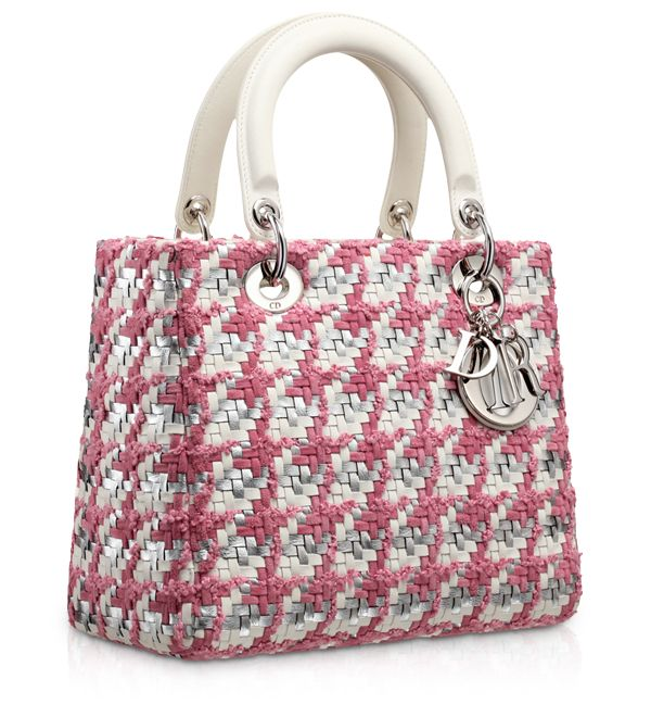"""LADY DIOR - Latte and Rose Magnolia plaited leather tweed """"Lady Dior"""" bag"""