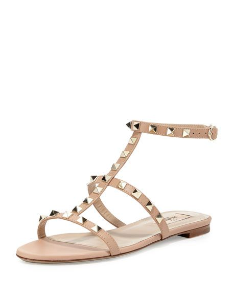 2d0a0c96bb7 VALENTINO Rockstud Flat Leather Cage Sandal