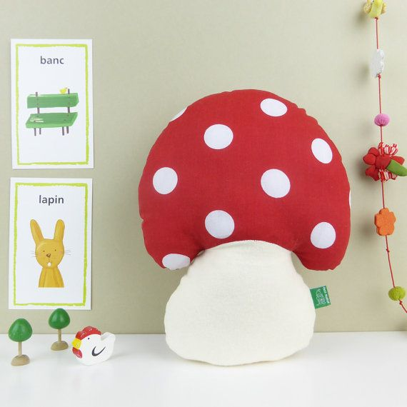 Mushroom Toadstool shaped woodland red white dots throw by MushyP