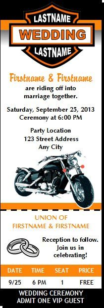 motorcycle wedding pictures | Motorcycle Wedding Ticket Invitations from Print Villa...personalized ...