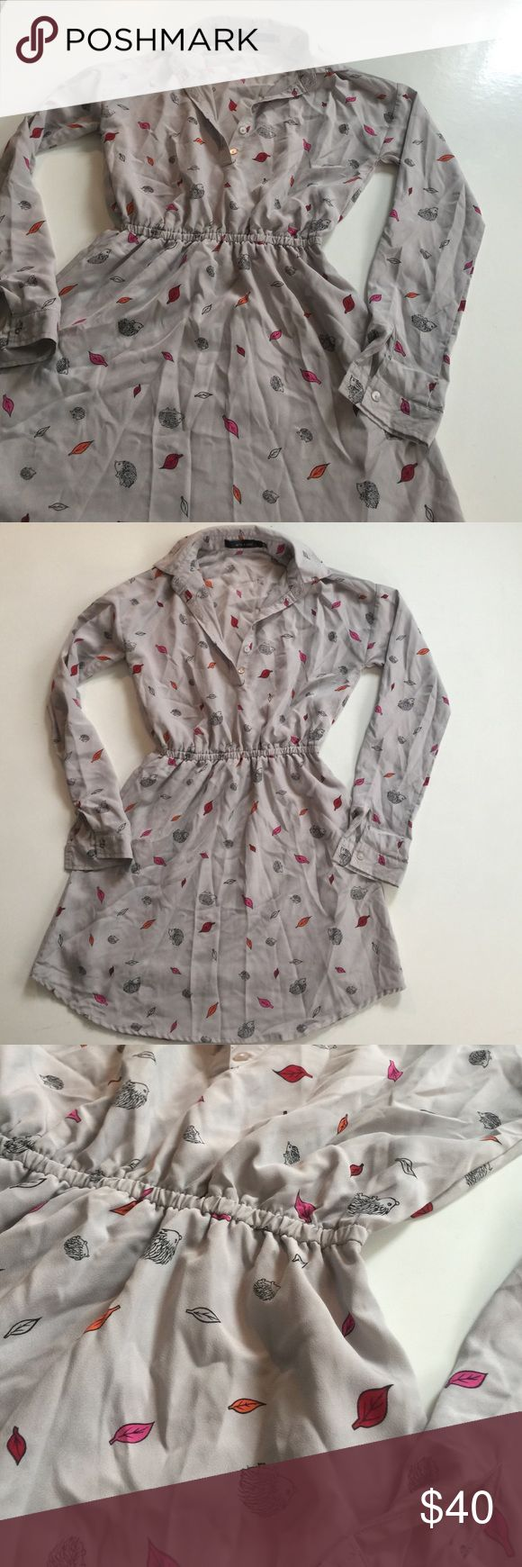 Women's Grey shirt dress XXS Absolutely adorable and never worn. Fits a waist size 25/26 best! Purchased from urban outfitters but never worn. Feature sweet porcupines and leaves :) Urban Outfitters Dresses