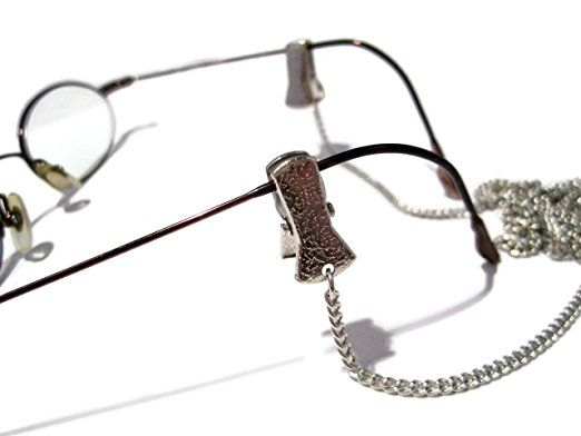 dec6d03bc8a Amazon.com  ATLanyards Simple Silver Chain Glasses Holder with Clip Grips