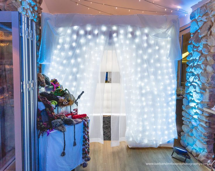 Winter Wonderland Booth complete with Snow and Icycle Chandelier STUNNING!