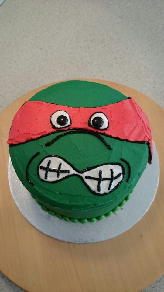 Raphael Tmnt cake for my 4 year old. All buttercream, chocolate cake with choc fudge icing inside.