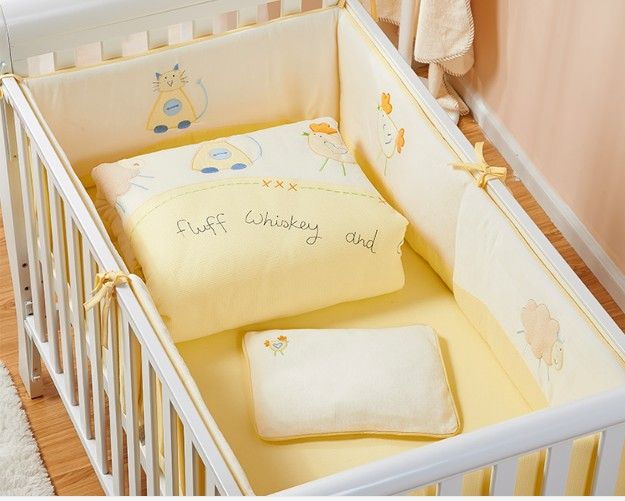 Promotion! 7PCS embroidered Infant Cot Baby Bedding Set For Girl Boys Bedding Set Baby Bed Bumper,(2bumper+duvet+sheet+pillow)