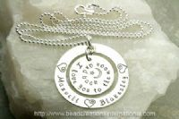 """For Trista Sutter"" Hand Stamped Necklace...it says ""I love you to the moon and back"" :)"