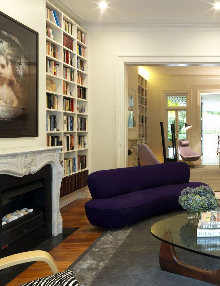 WOOLLAHRA TERRACE   alwill  #interiors #livingroom #fireplace #lounge #artwork #bookshelf #bookcase #woodenfloor #coffeetable