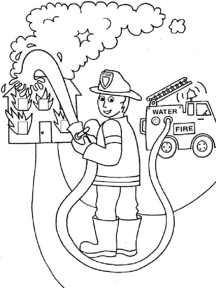 Firefighter coloring pages. Free Printable Firefighter