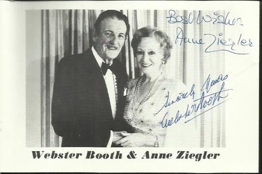Webster Booth and Anne Ziegler signed 6 x 4 promotional b/w photo. Good condition