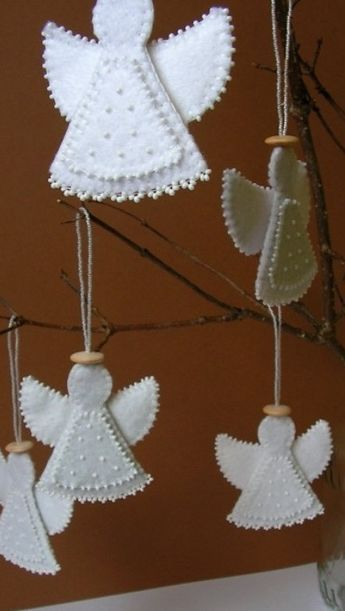 felt white angels with sequins