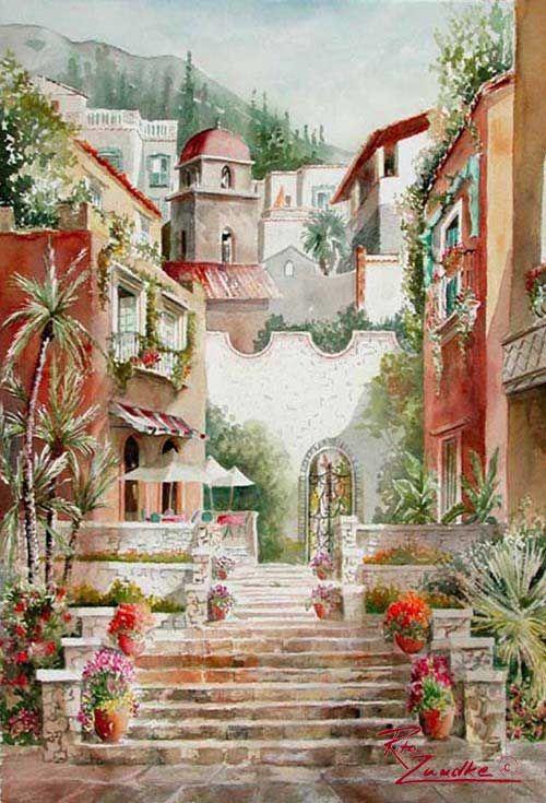 Taormina Entry - Watercolor of Italy Rita Zaudke